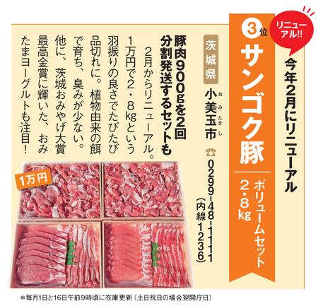 ふるさと納税:茨城県小美玉市の「サンゴク豚 ボリュームセット2.8kg」