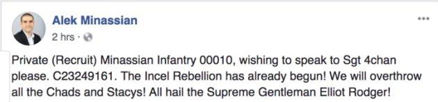 10件の第1級殺人罪で告発されたアレク・ミナシアンのFacebook投稿