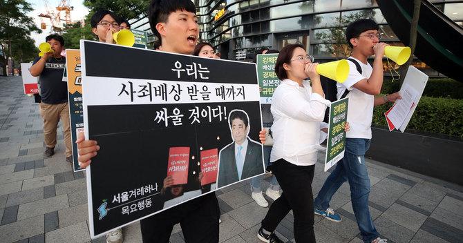 日本が韓国向け半導体材料の輸出規制を強化したことに対し、ソウルでは抗議デモもあった