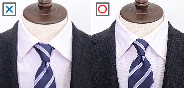 ワイシャツは一番上のボタンもしっかり留め、ネクタイの結び目も抜かりなく