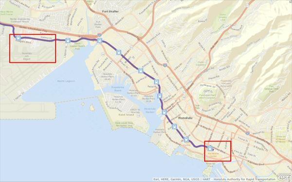 「ホノルル・レール・トランジット」の路線図