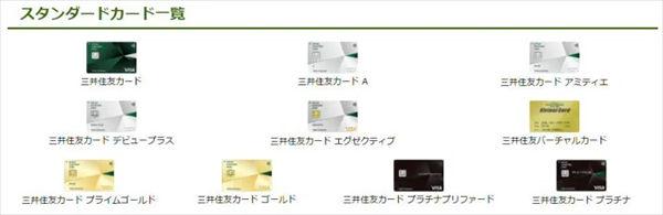 「三井住友カード」のスタンダードカードの一覧