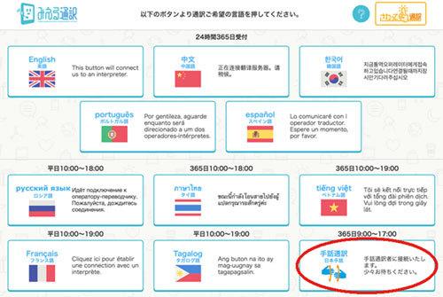 「みえる通訳」では、フランス語やベトナム語と並んで、「手話通訳(日本手話)」のサービスも始まった