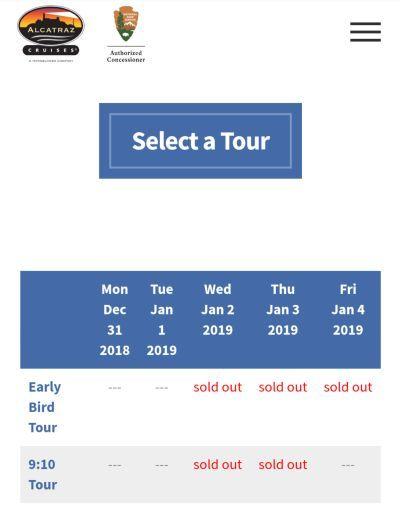 アルカトラズ島ツアーのチケットの予約画面