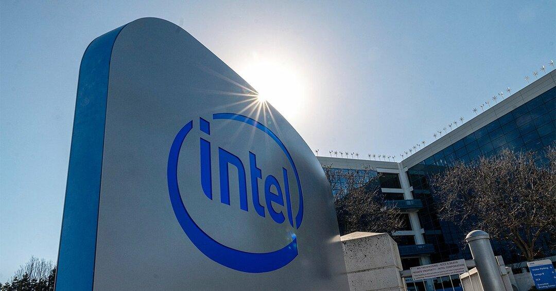 写真:Intel本社の入り口にある看板