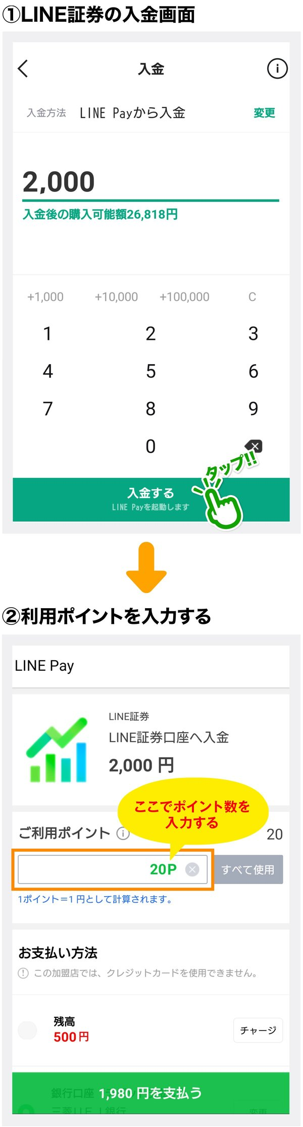 LINE証券への「LINEポイント」の入金方法