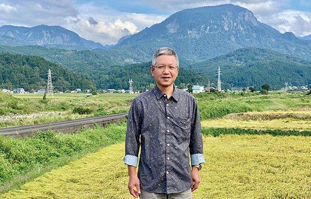 自社田と根知駒ヶ岳と渡辺〓(〓は土吉)樹さん