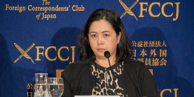 会見に臨む、「メディアにおけるセクハラを考える会」の谷口真由美代表