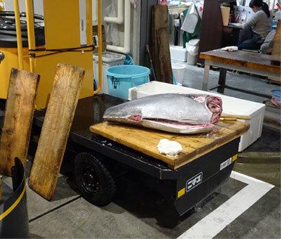 豊洲市場でターレの荷台で解体中の生マグロ