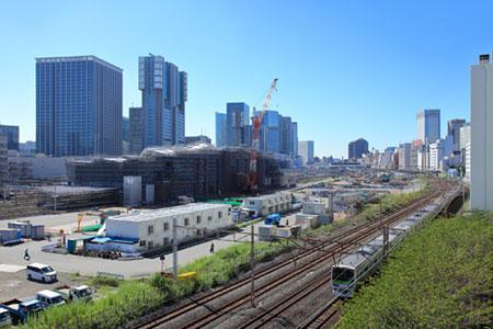 建設中の高輪ゲートウェイ駅