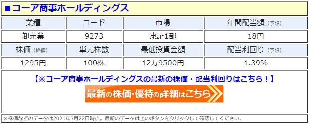 コーア商事ホールディングス(9273)の株価