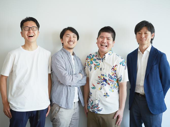 左から個人投資家の有安伸宏氏、OLTA代表取締役CEOの澤岻優紀氏、取締役CSOの武田修一氏、取締役CFO 浅野雄太氏