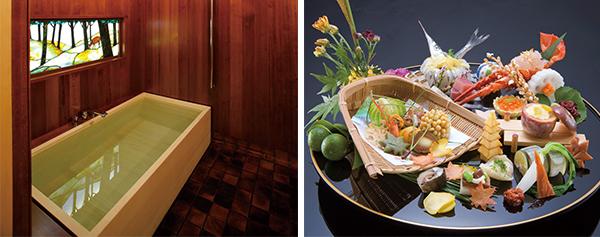 (左)貸し切り風呂が2個所 / (右)会席の ほか陶板会席も選べる