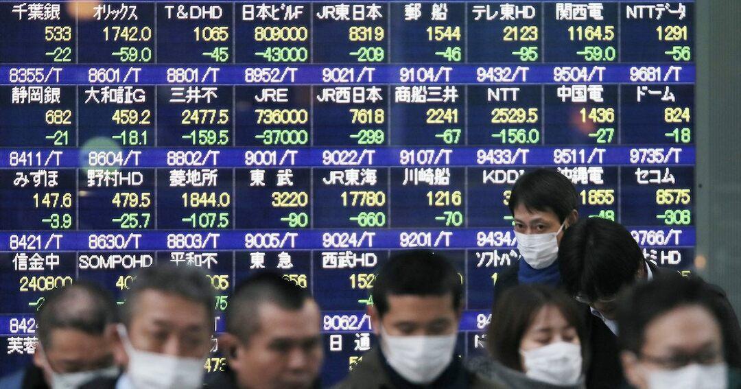 株価下落を示す株価ボードとマスクをする人々