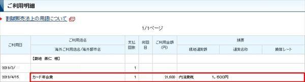 「年会費2万円(税抜)」と表記されているクレジットカードの明細