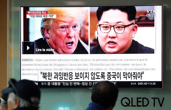 米朝首脳会談の中止を伝える韓国のテレビ放送
