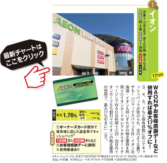 桐谷さん&優待ブロガーがおすすめのイオン(8267)の最新チャートはこちら!