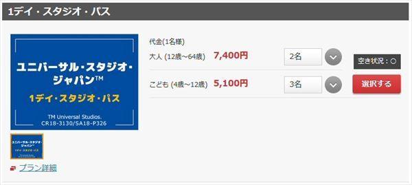 JALダイナミックパッケージのチケット購入画面