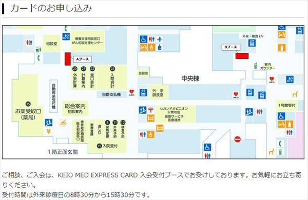 慶應義塾大学病院の「KEIO MED EXPRESS CARD」の入会案内ページ