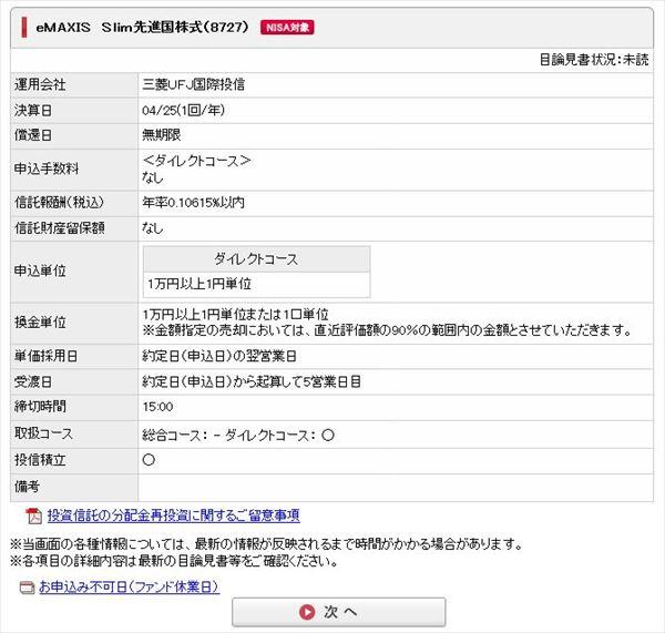 三菱UFJ国際-eMAXIS Slim 先進国株式インデックスの詳細