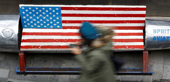米国旗柄のベンチ