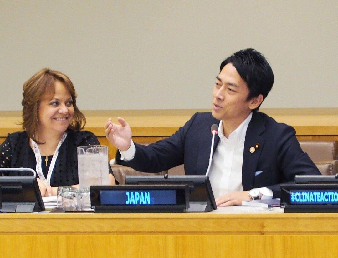 国連で演説する小泉進次郎環境相