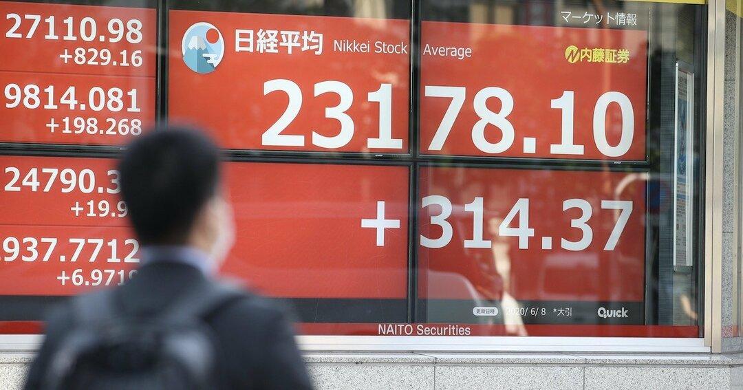 写真:日経平均株価を示すボード