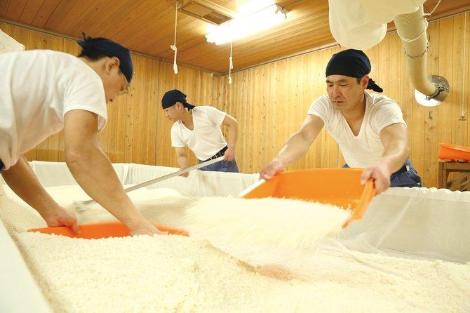 麹室で麹造り