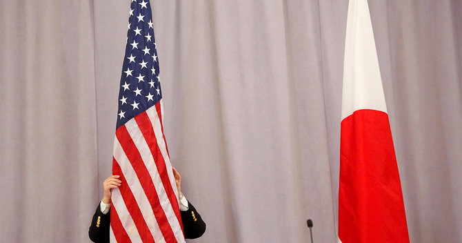アメリカと日本国旗