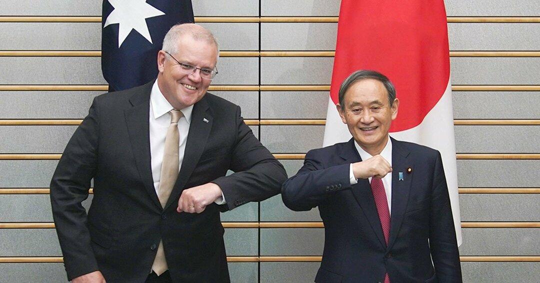 首脳会談でひじを合わせる菅義偉首相(右)とオーストラリアのスコット・モリソン首相/11月17日、首相官邸