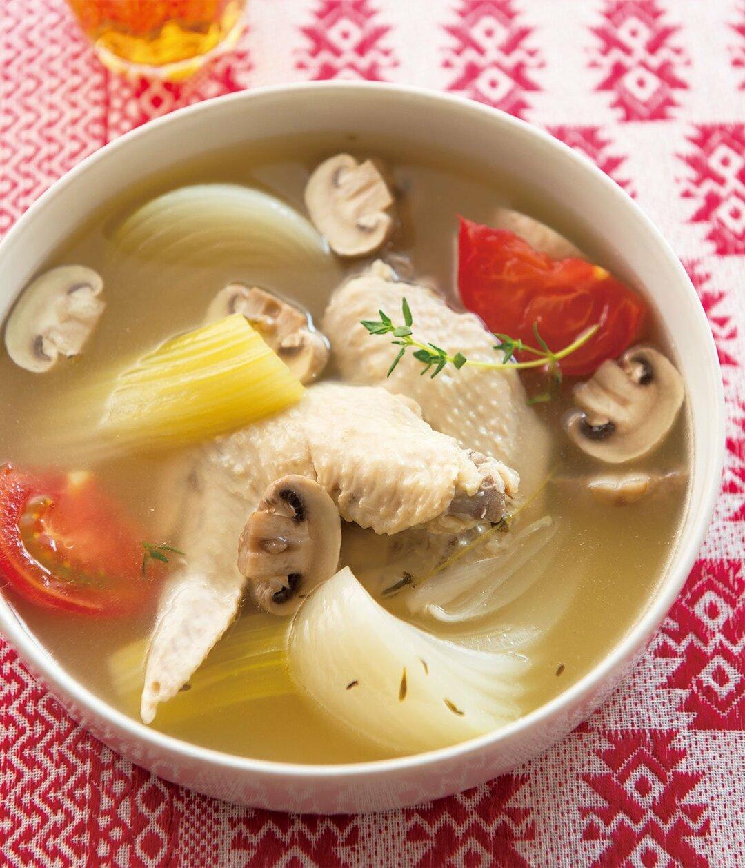 お肌の乾燥ストップ! しわ防止!<br />コラーゲンが染み入る<br />手羽先とトマトの長寿スープとは?
