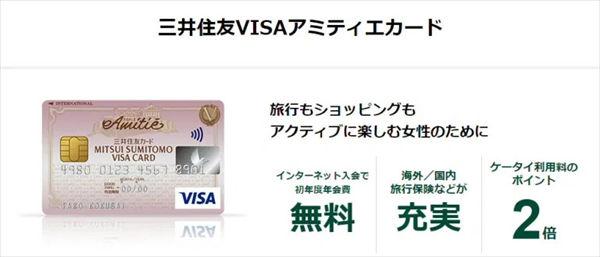 三井住友VISAアミティエカードの説明文