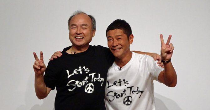 孫正義氏(左)とはしゃぐ前澤友作氏は、借金も返済して再スタート