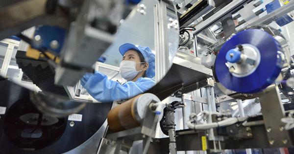 浙江省湖州の電気自動車のバッテリー工場