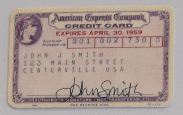 1958年に発行されたアメリカン・エキスプレスのクレジットカード