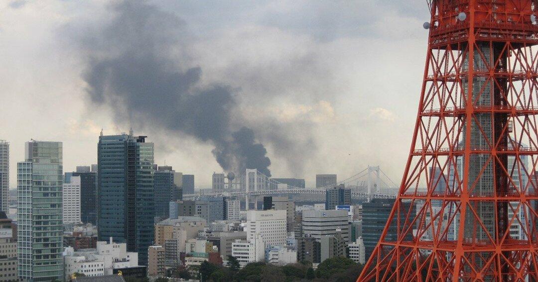 2011年3月11日、東北地方太平洋沖地震で発生した火災