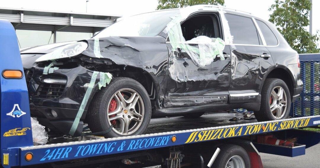 静岡県警が押収した、6月8日に新東名高速で事故を起こした宮崎文夫容疑者の車両(9月13撮影)