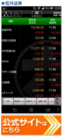 ネット証券会社スマホアプリランキング!松井証券の株アプリ画面