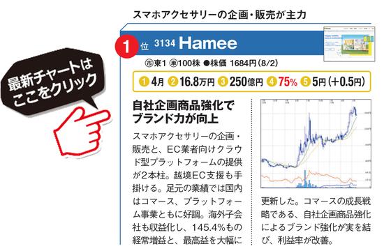 Hamee(3134)の最新株価チャートはこちら!