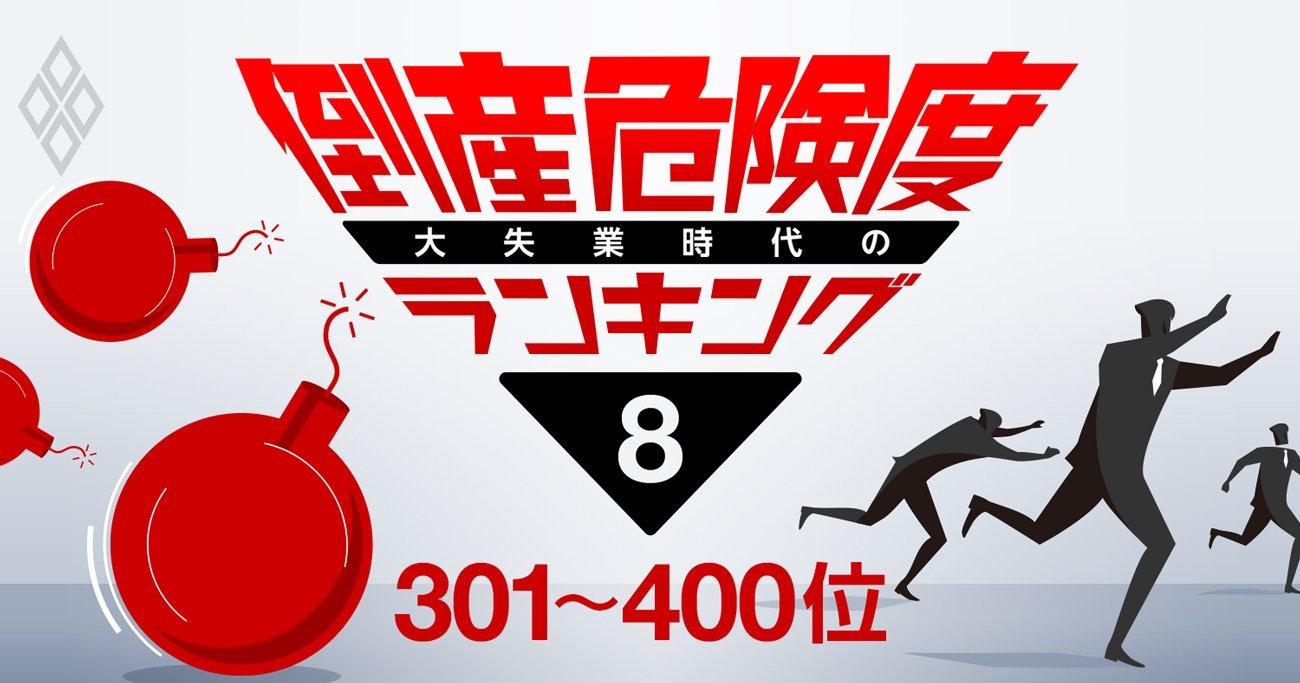 倒産危険度ランキング2020【ワースト301~400】サービス・不動産が11社ずつランクイン