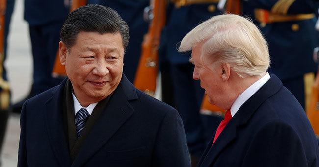 北京で会談する中国の習近平・国家主席とトランプ米大統領