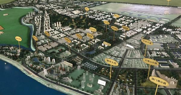 丹東新区の模型。北朝鮮と接する遼寧省丹東市で昨年9月撮影