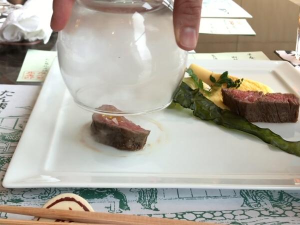 肉料理の「和牛ひれステーキ 山葵ソース」
