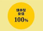 債権方投資信託0%、株式型投資信託100%
