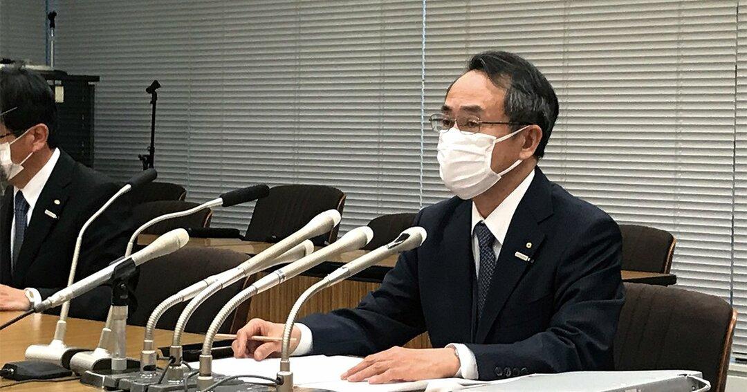 記者会見に臨んだ関西電力の森本孝社長。電気事業連合会が打ち出したRFSの中間貯蔵施設の共同利用案に「積極的に参画する」と表明した