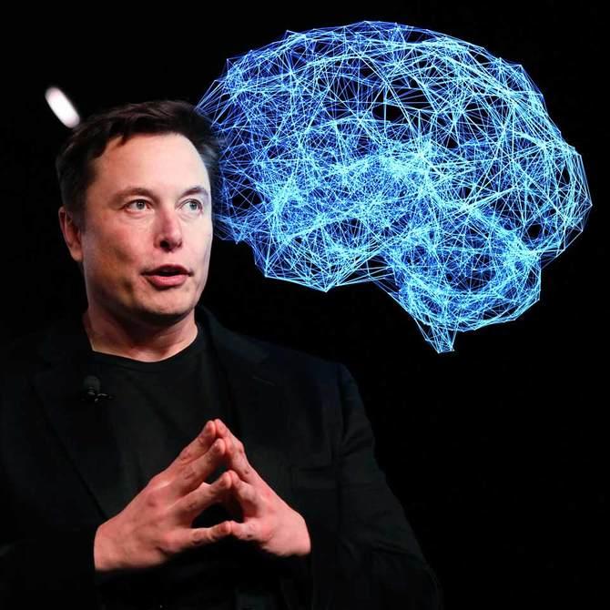 マスク氏と脳のイメージ