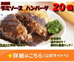 「福岡県飯塚市」の「鉄板焼ハンバーグ デミソース 20個」