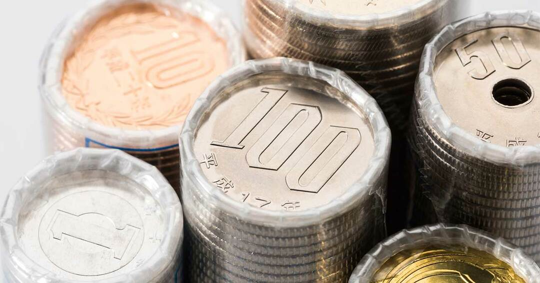 日本硬貨の束