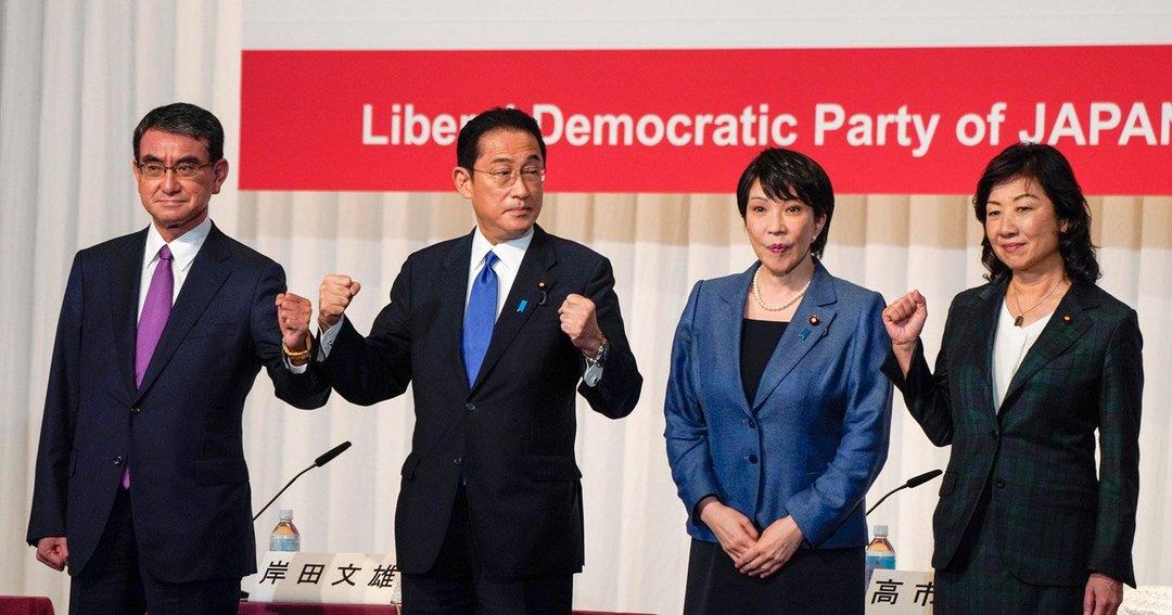 自民党総裁選共同会見に臨む河野氏、岸田氏、高市氏、野田氏