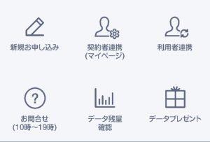 LINEモバイル公式アカウントのメニューの中には、「契約者連携(マイページ)」と「利用者連携」がある